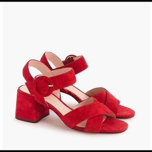 J.Crew Penny Sandal Red Suede